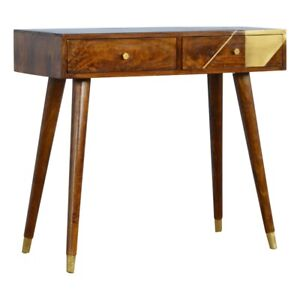 Solid Wood Retro Art Deco Style Geometric Gold 2 Drawer Console Hallway Table