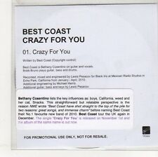 (EO995) Best Coast, Crazy For You - 2010 DJ CD