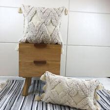 Handmade Moroccan Style Macrame Nordic Boho Vintage Tassel Cushion Cover Cotton