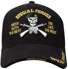 Black Deluxe Special Forces Mess With the Best Die Like The Rest Insignia Cap