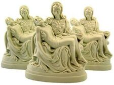 Set of 3 The Pieta Virgin Mary with Jesus 4 Inch Moulded White Plastic Figurine