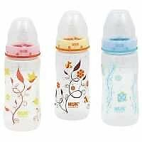 Nuk Bottle, Orthodontic, 10 oz, Silicone, 0M+, 1 ct Assorted Colors