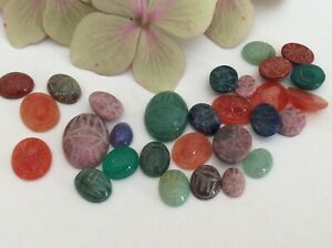 SCARAB Oval flatback Gemstone Glass Mixed size /colour inc. larger Pack 10 CRAFT