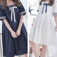 Japanese School Uniform Girl Dress Summer Sweet Students Cosplay Dress One Size