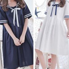 Lolita Girl Navy Dress Sailor Bowknot Collar Loose Short Sleeve Skirt Summer UK