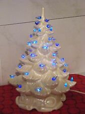 CERAMIC WHITE, BLUE LIGHT CHRISTMAS TREE APPROX 18 INCH**PLAYS MUSIC**FREE SHIP