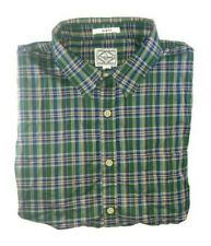 Lucky Brand Green Blue Plaid Short Sleeve Shirt Slim Fit Size Large LG