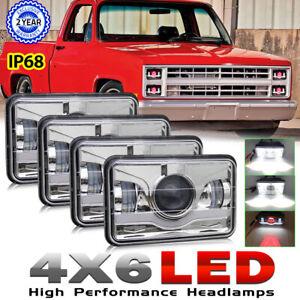 "4PCS 4x6"" Red Demon LED Headlights DRL Sealed Beam for Chevy C10 C20 C30 K20 K30"