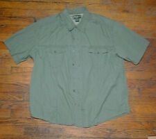 EDDIE BAUER Men's Green 100% COTTON Short Sleeve Fishing/Hiking Shirt Sz XL