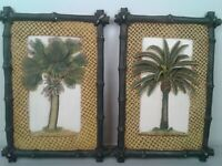 "Set of 2 ceramic palm tree hanging plaques 6 1/4""w X 10 1/4"" H"