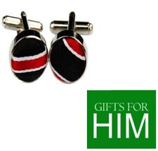 GIFTS FOR MEN Fabric Black Red White Stripe Shirt Mens Alloy Cufflinks GIFT SET