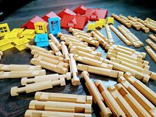Vintage Playskool (wooden) LINCOLN LOGS - 100 + Pieces (x 2 sets combined)