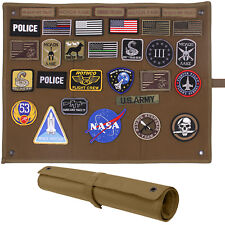 Tactical Patch Display Board Wall Hanging Hook Loop Roll Up Morale Coyote Brown