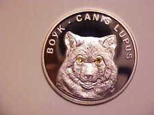 2007 Belarus Large silver Proof w/cubic Zirconia 20 r Wolf