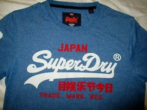 NEW SUPERDRY  MENS DESIGNER TOP QUALITY BLUE T SHIRT SMALL
