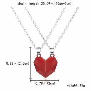 2Pcs Magnetic Couple Heart Necklace Pendant Bangle Valentine's Day Gift Fashion