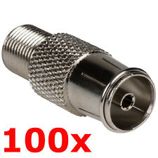 100 Pack PAL Female to F Type Jack Adapter - Coax TV FM Radio Antenna Converter
