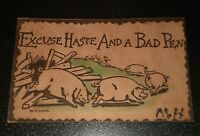 1906 Vintage Original Post Card Cent Stamp Running Pigs Excuse Haste Bad Pen