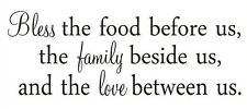 BLESS THE FOOD BEFORE US  Vinyl Wall Art Decal Decor Lettering Words Quotes 24""