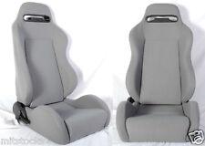 NEW 2 GRAY CLOTH RACING SEATS & SLIDER RECLINABLE ALL DODGE