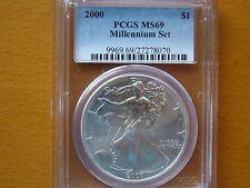 2000 silver eagle PCGS MS 69 millennium set rare unique label free lucky pouch