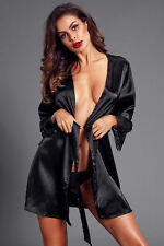 Nightwear Silk Satin Lace Dressing Gown Bath Robe size 10-12-14 available