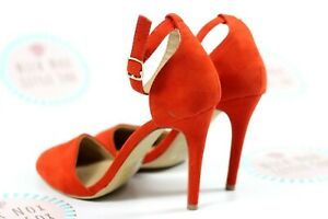 Atmosphere orange faux suede ankle strap Rounded Toe Heeled shoes UK 5