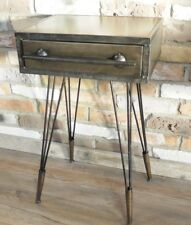 Urban Industrial Side Bedside Table With Draw NEW Distressed Silver Grey Metal