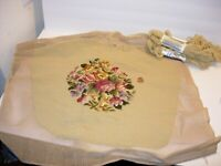 VINTAGE BUCILLA NEEDLEPOINT SEAT CHAIR COVER TAN FLORAL 22X22 WOOL CRAFTS DECOR
