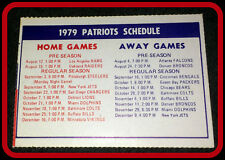 1979 NEW ENGLAND PATRIOTS FOOTBALL POCKET SCHEDULE FREE SHIPPING NMMT CONDITION