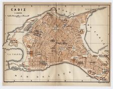 1913 ORIGINAL ANTIQUE CITY MAP OF CADIZ / ANDALUSIA / SPAIN