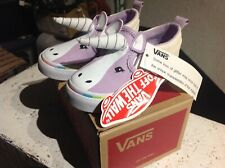 NEW Vans Asher V Unicorn with horn & glitter Slip on Shoes Girls Toddler 5.5