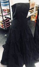 Long Black Tafferty Tiered Dress Formal Cocktail Ballgown Party Dress Size 10