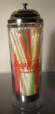 "*VINTAGE* Coca - Cola 1992 Straw Dispenser with Silver Metal Lid 11 1/4"" Coke"