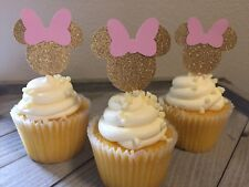 12 Minnie Mouse Cupcake Toppers, Minnie Mouse Birthday/baby Shower