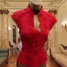 KAREN MILLEN Silk Red Oriental Rose Floral Lace Corset Torso Top Blouse 10 UK