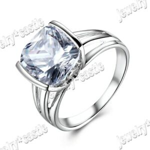 Solid 10K White Gold Unique Ring Prong Cubic Zirconia Solitaire Classic Setting