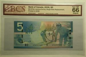 2006 Canada $5 Dollars Banknote BC-67bA,Single Note Replacement, BCS 66 Gem UNC