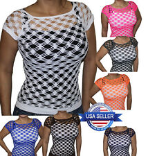 New Sexy Fishnet Shirt Short Sleeve Top Bathing Suit Cover Up Style# FN1103
