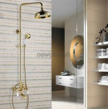Luxury Gold Color Brass Bathroom Rainfall Shower Faucet Set Mixer Tap ngf371