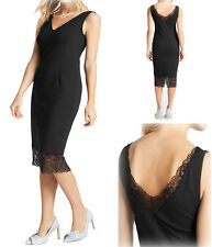 New Ladies Ex M&S Black Bodycon V-Neck Sleeveless Midi-Dress Size 8-18 RRP £59