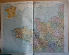1919 LARGE MAP-  EUROPE-FRANCE NORTH WEST, INSET POPULATION MAP