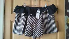 """BNWT F&F Couture Mini Skorts/Shorts Size 14 W34"""" x L13.5"""" NW5 Black/Gold"""