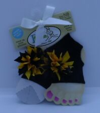 Baby Deer Black Peep Toe Socks Wear With or Without Socks Size NB-12 Mos. Girl
