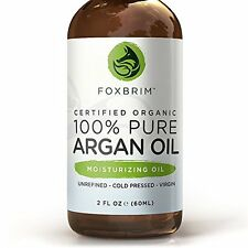 Foxbrim BEST ORGANIC Argan Oil for Hair, Face, Skin and Nails 2oz