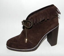 NEW TORY BURCH Dk Brown Hilary Suede/Shearling Fringe Ankle Boots, Size 10, $395