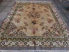 Old Traditional Hand Made Chinese Oriental Beige Green Silk Carpet 308x245cm