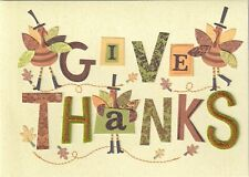 Papyrus Thanksgiving Card - Give Thanks with Die-Cut & Embroidered Letters