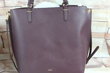 Ralph Lauren Anfield Abby Tote Convertible Large Crossbody Bordeaux Leather Bc34