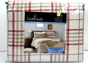 Cuddl Duds Heavy Weight 100% Cotton FLANNEL Sheet Set - Khaki Red Plaid 🌟NEW🌟